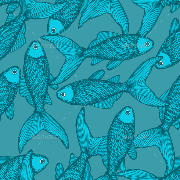 Fish Seamless Pattern in Vintage Style - Animals Characters
