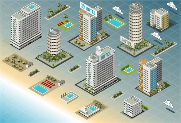 Isometric Seaside Buildings - Buildings Objects