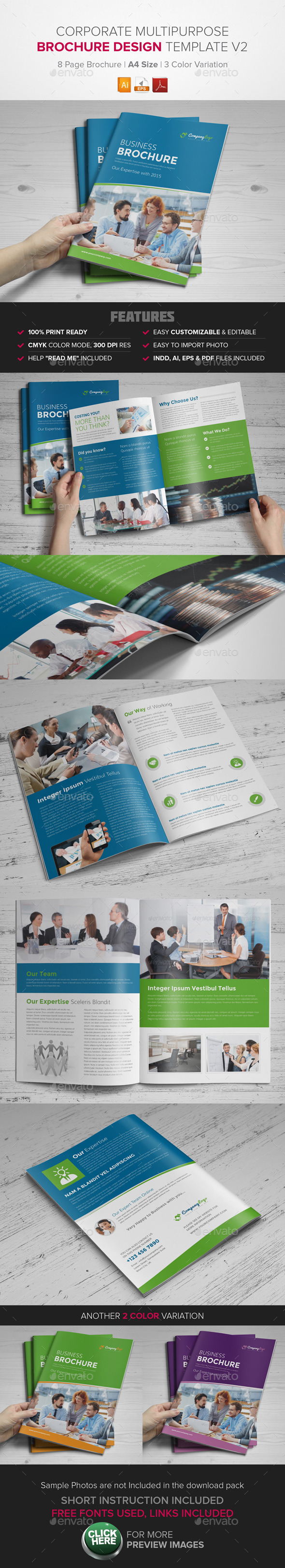 Corporate Multipurpose BiFold Brochure Template v2 - Corporate Brochures