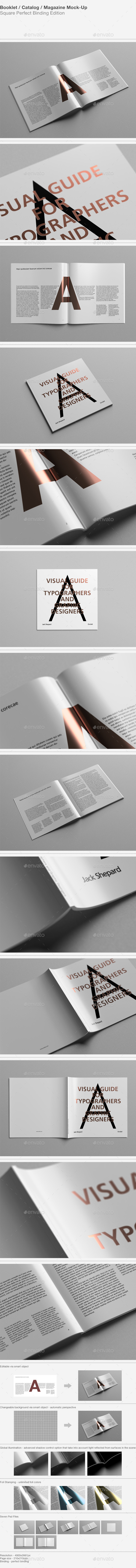 Square Catalog / Magazine Mock-Up - Magazines Print
