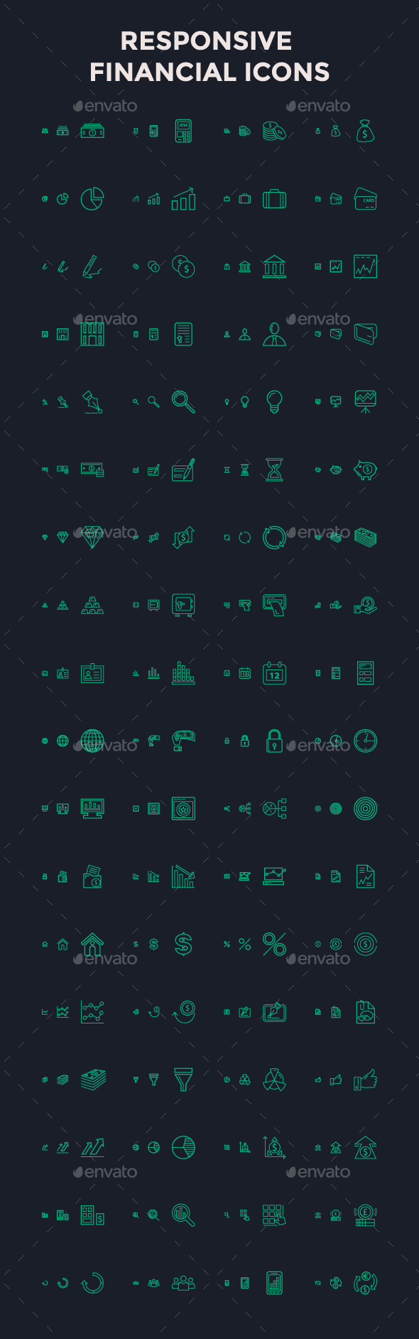 Responsive Financial Vector Icons - Icons