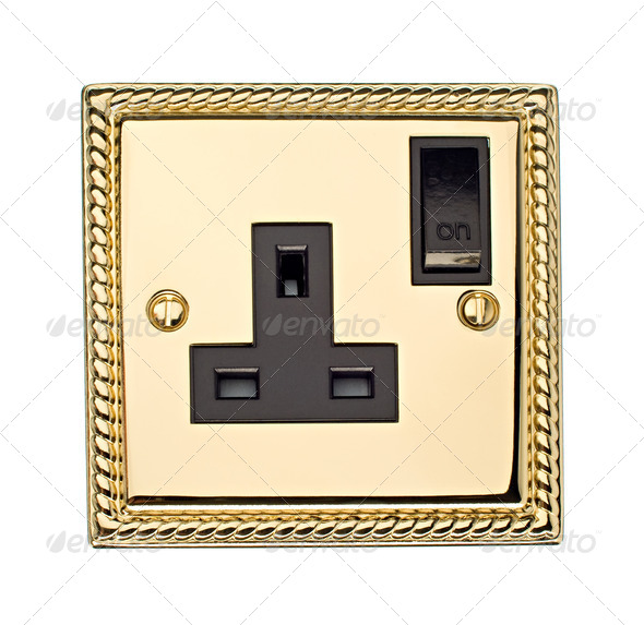 Gold Electric Socket - Stock Photo - Images