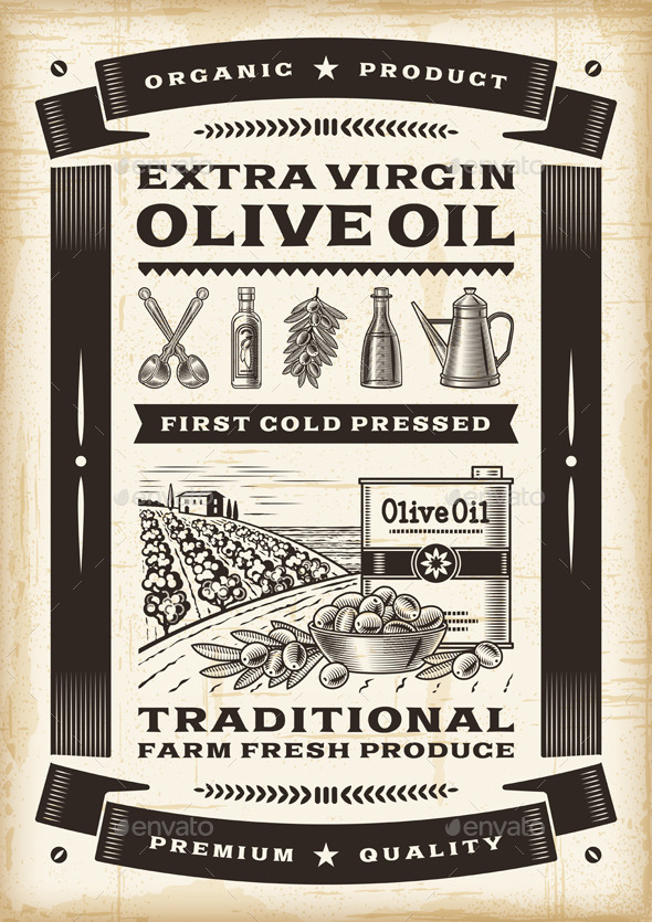 Vintage Olive Oil Poster - Food Objects