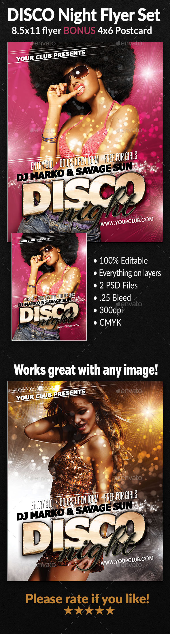 Disco Night Flyer Set - Clubs & Parties Events