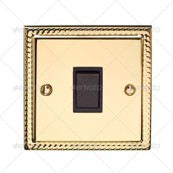 Gold Light Switch - Stock Photo - Images
