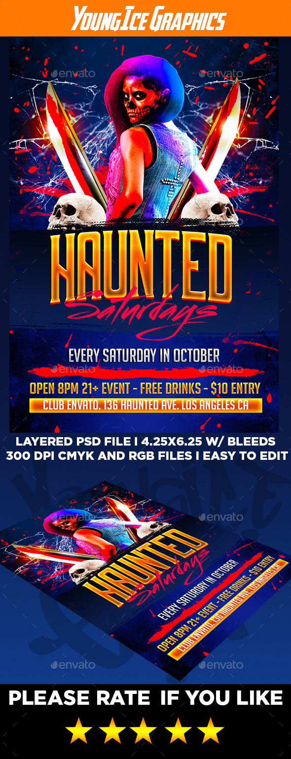 Haunted Saturdays Flyer Template - Clubs & Parties Events