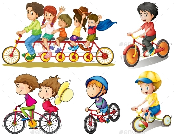 A Group of People Biking - People Characters
