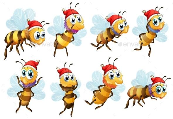 Santa Bees - Animals Characters