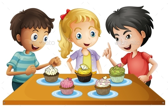 Three Kids at the Table with Cupcakes - People Characters