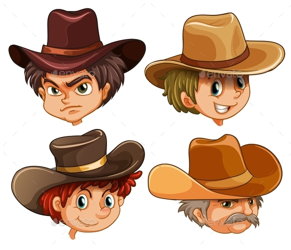 Different Faces of Four Cowboys - People Characters