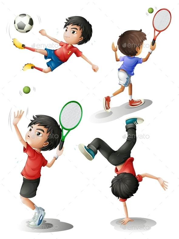 Four Boys Playing different Sports - People Characters