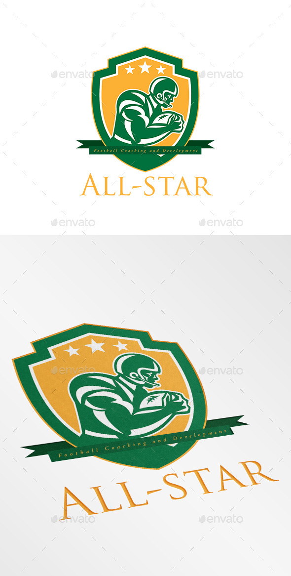 All-Star Football Coaching Logo - Humans Logo Templates