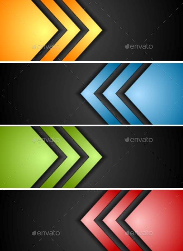 Abstract Banners with Arrows - Backgrounds Decorative