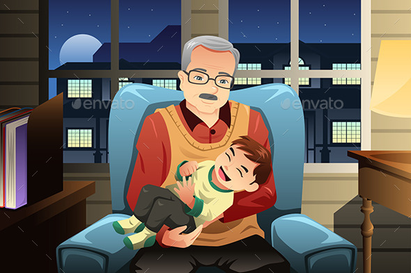 Grandfather holding his Grandson - People Characters