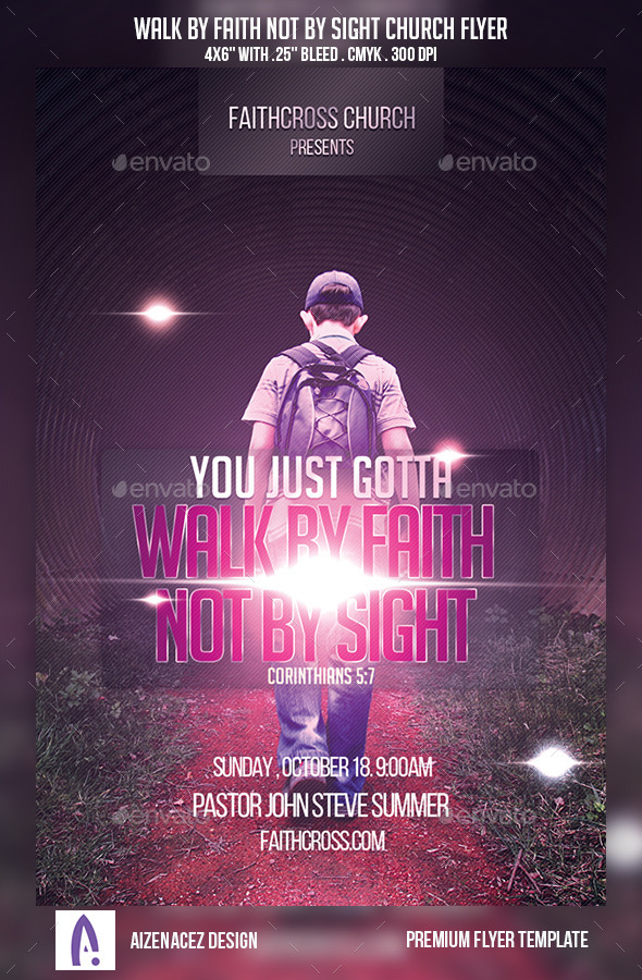 Walk By Faith Not By Sight Church Flyer - Church Flyers