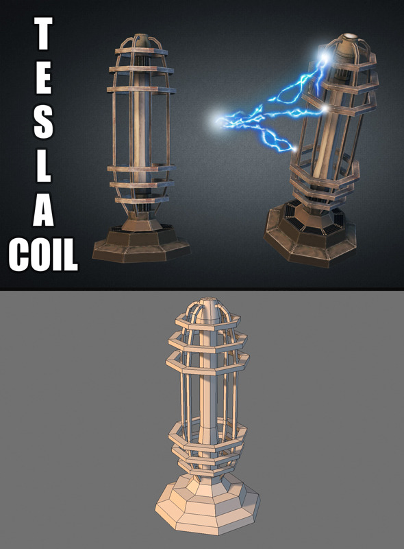 Tesla Coil Turret - 3DOcean Item for Sale