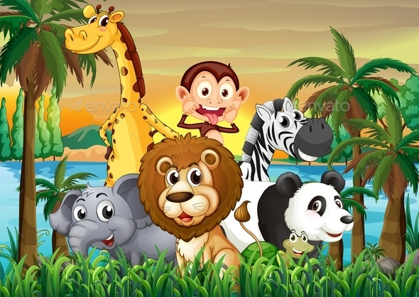 Animals at the Riverbank - Animals Characters