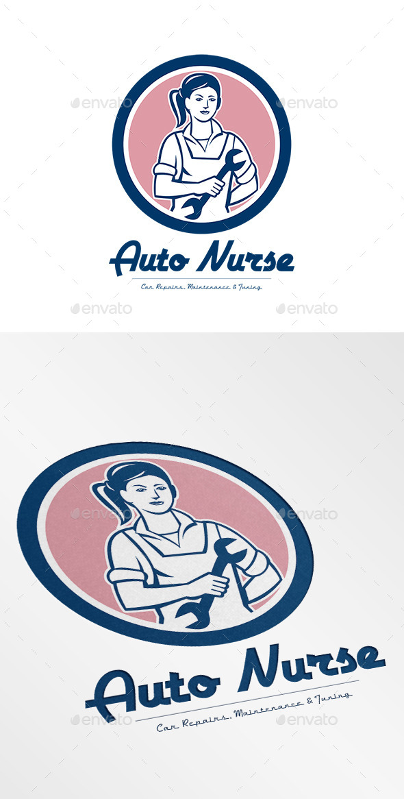 Auto Nurse Car Repairs Logo - Humans Logo Templates