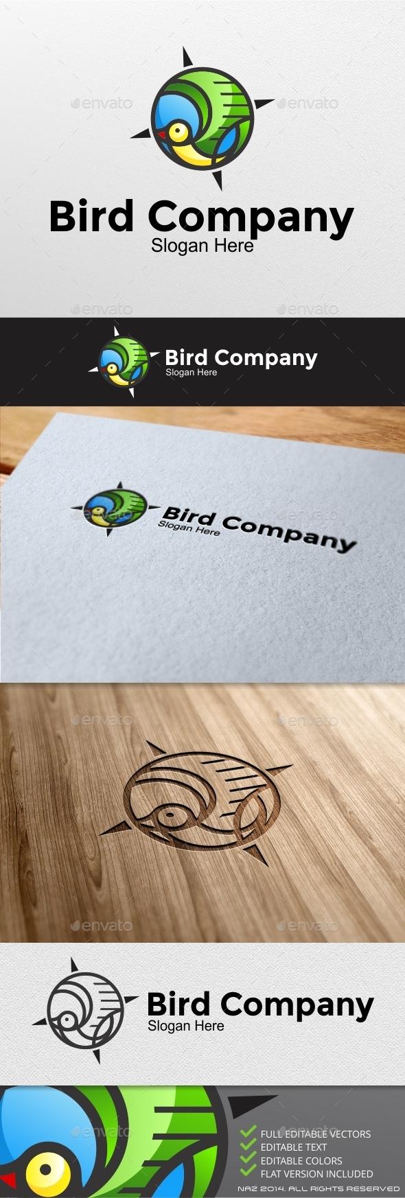 Bird Compass Logo - Animals Logo Templates