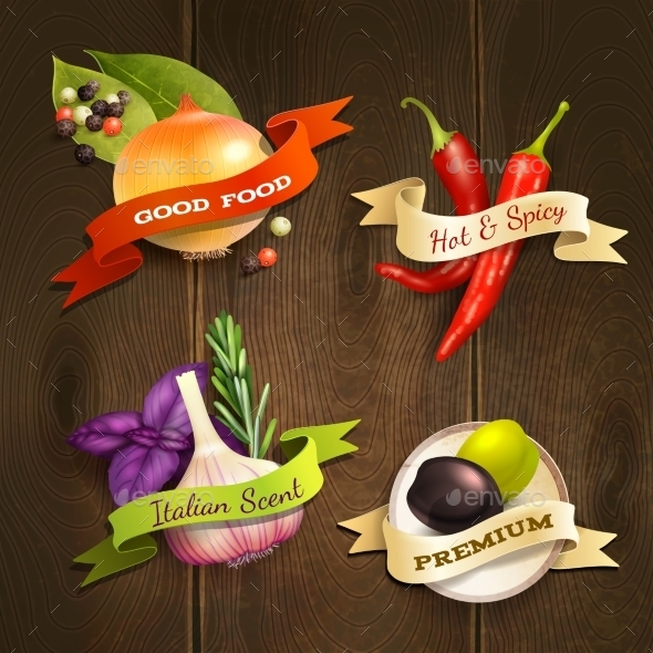 Herbs and Spices Badges Set - Food Objects