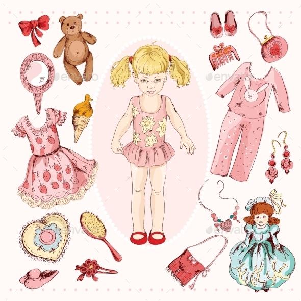 Girl Character Accessories Set - Decorative Symbols Decorative