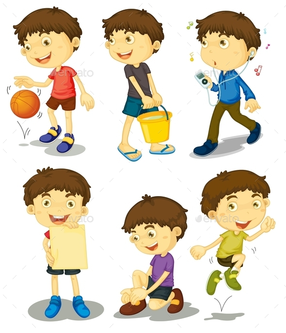 Boy in Five Poses - People Characters