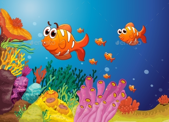 Fish in a Blue Water - Animals Characters