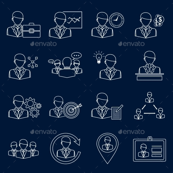 Business and Management Icons Outline - Web Elements Vectors