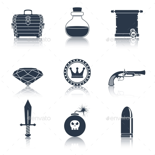 Game Resources Icons Black - Web Technology