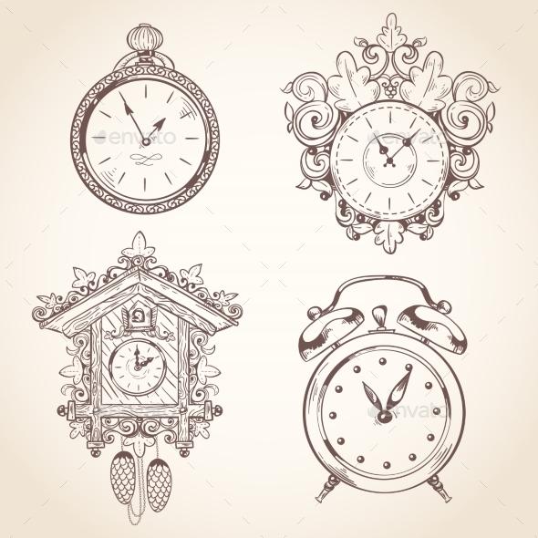 Old Vintage Clock Set - Decorative Symbols Decorative