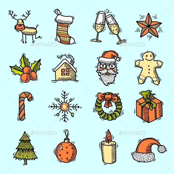 Christmas Icons Set in Color - Christmas Seasons/Holidays
