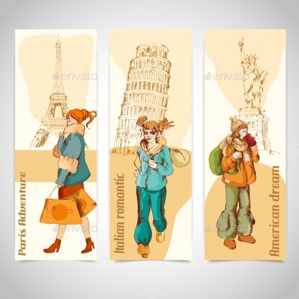 Urban People Vertical Banners Colored Sketch  - Travel Conceptual