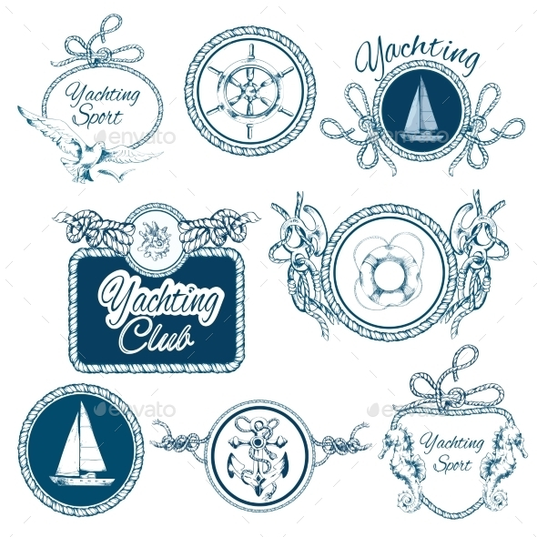 Yachting Sketch Emblems Set - Travel Conceptual