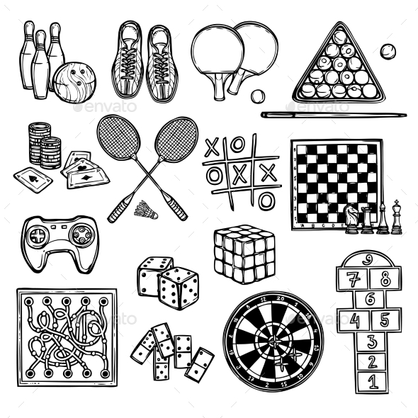 Game Sketch Icons - Sports/Activity Conceptual