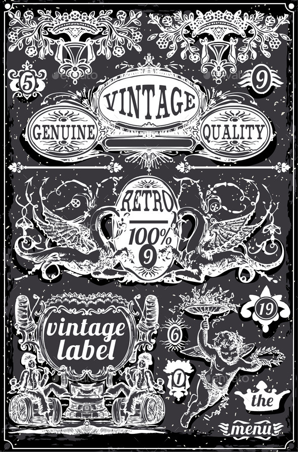 Vintage Hand Drawn Blackboard Banners and Labels - Decorative Vectors