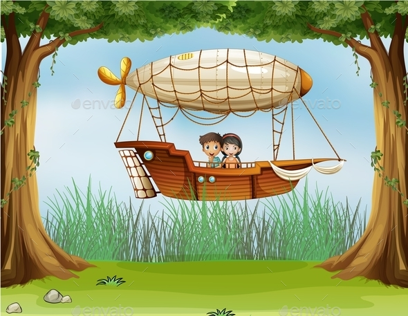 Kids Riding in an Airship - People Characters