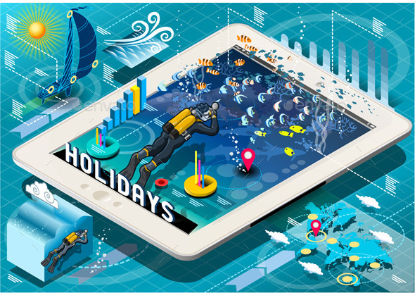 Isometric Diving Holidays Infographic on Tablet - Sports/Activity Conceptual