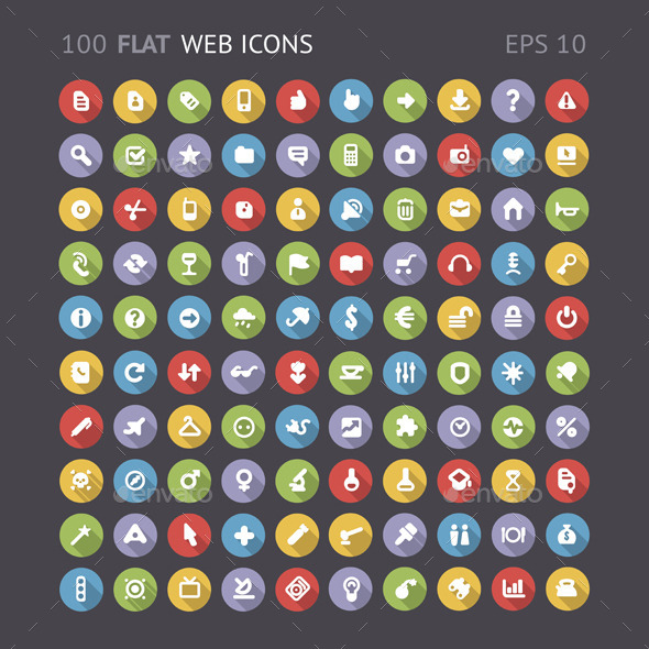 Flat Web Interface Icons - Web Icons