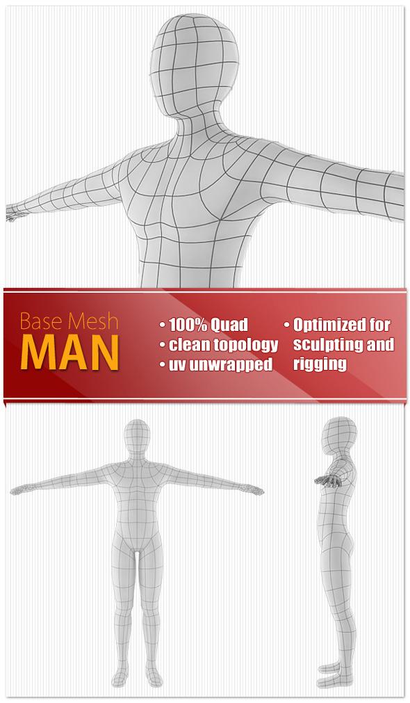 Man Base Mesh - 3DOcean Item for Sale