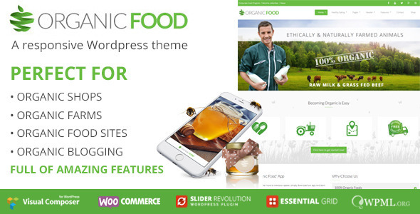 Organic Food | Ecology & Environmental, Store & Bakery WooCommerce, Responsive WordPress Theme - Food Retail