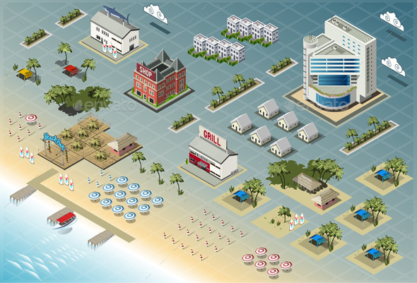 Isometric Miami Seaside Buildings - Buildings Objects