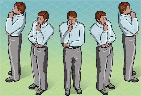 Isometric Thoughtful Standing Man in Front View - People Characters