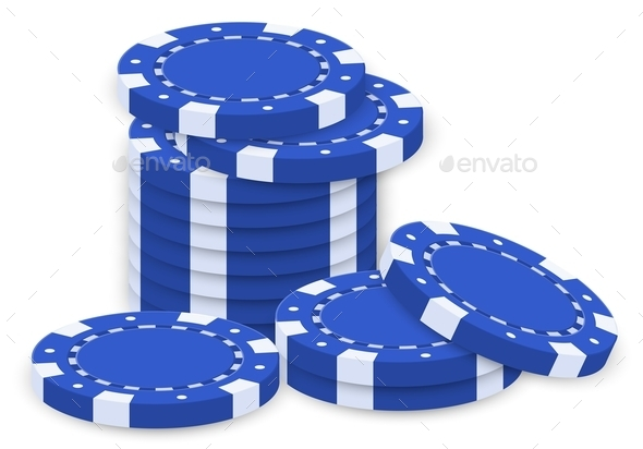 Group of Blue Poker Chips - Man-made Objects Objects