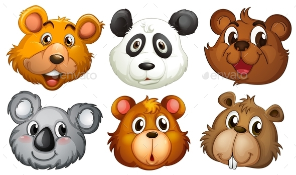 Six Heads of Bears - Animals Characters