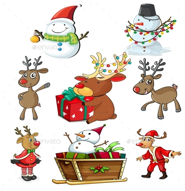 Set of Christmas Designs - Characters Vectors