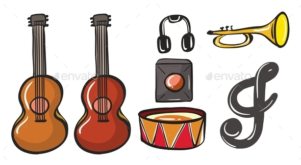 Various Musical Instruments - Man-made Objects Objects