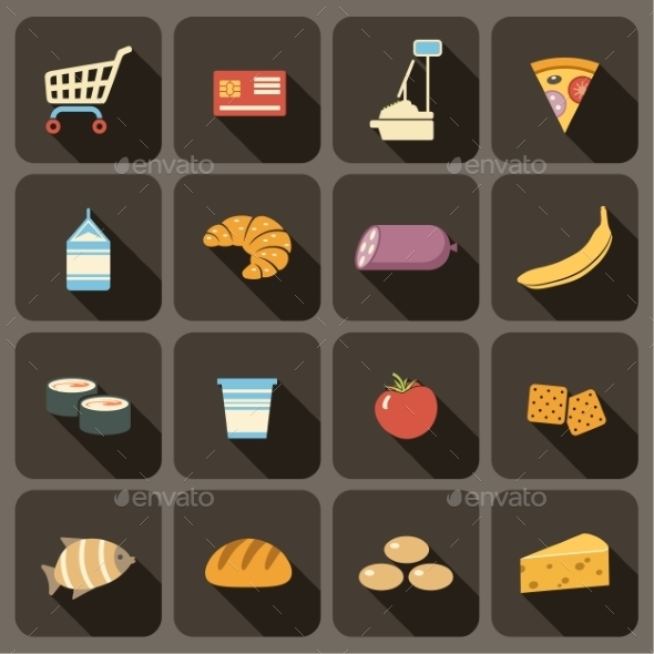 Flat Icons Set for Web and Mobile Applications - Food Objects