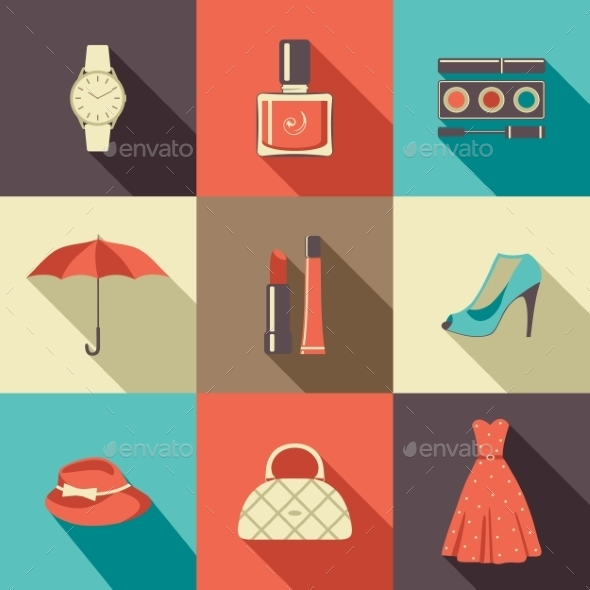 Flat Icons with Accessories. - Retail Commercial / Shopping