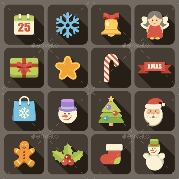 Flat Christmas Icons Set  - Christmas Seasons/Holidays