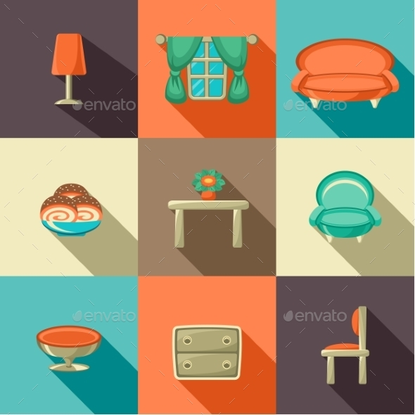 Flat Icons with Household Objects.  - Commercial / Shopping Conceptual